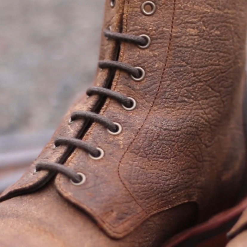 An up-close view of the incredible texture of the CF Stead waxed leather used for the Taft Dragon Boots
