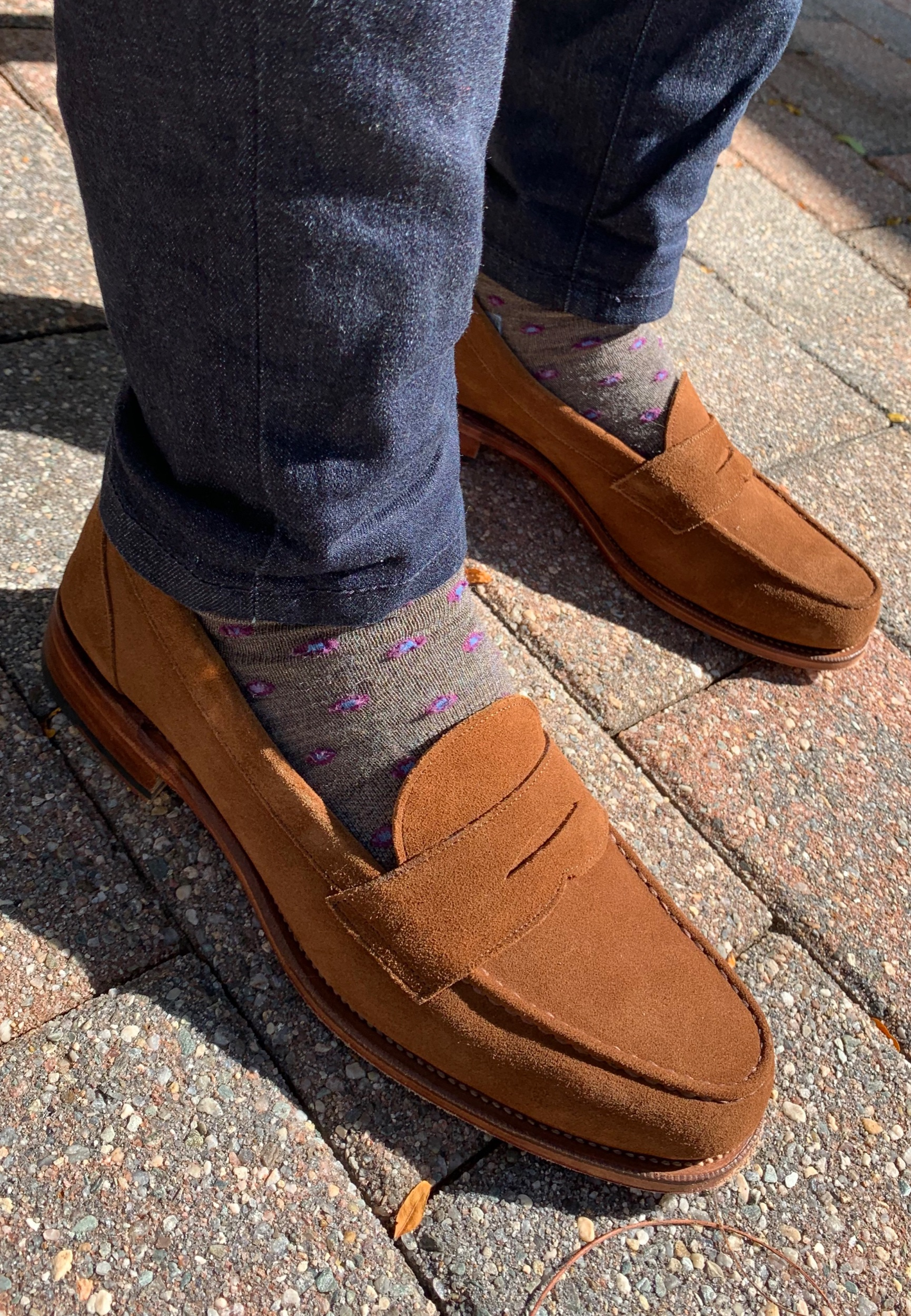 My favorite way to wear these penny loafers: with slim Darn Tough Lifestyle Socks, and skinny dark wash jeans
