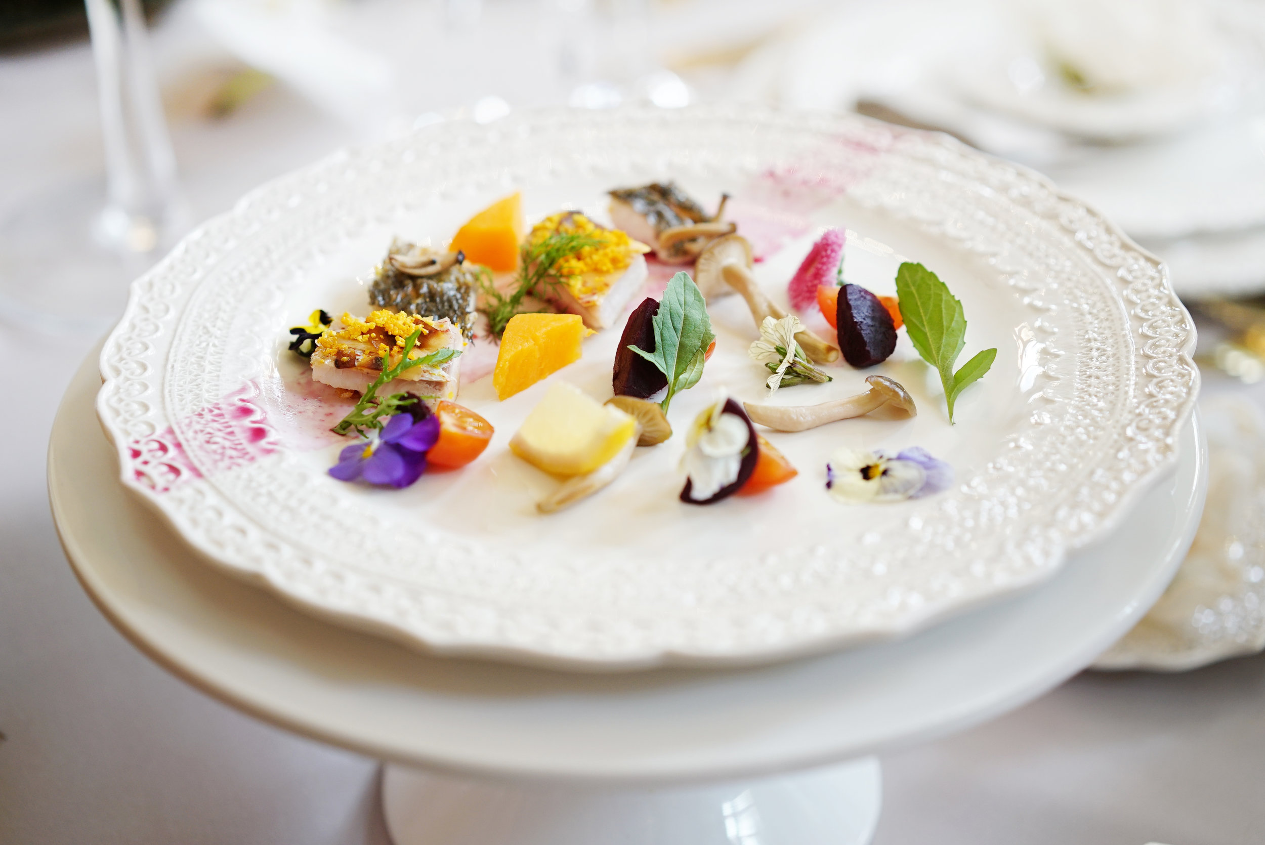 Wedding Catering Inspiration - Red mullet and Sea bass with Enoki mushroom baby root vegetables & orange zest