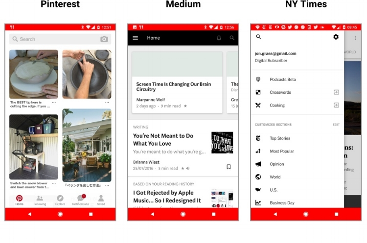 Pinterest uses a universal search bar to encourage search, while Medium offers an expandable search to suggest browsing. NY Times goes one step further by putting an expandable search inside a menu.