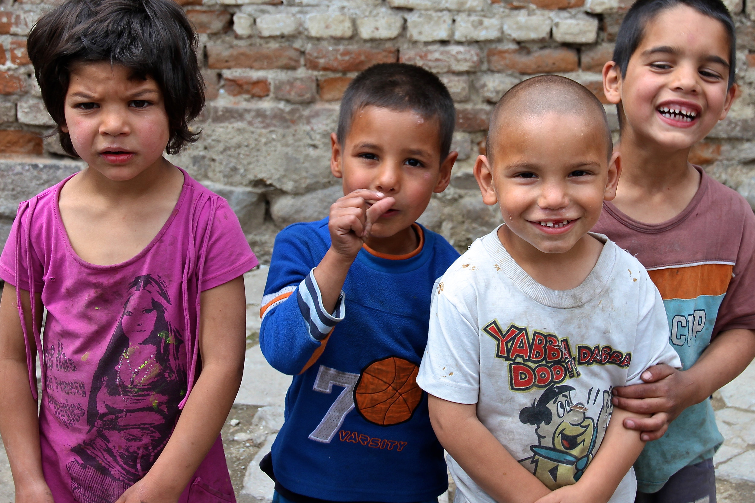 These are some of the Roma children playing outside near our home