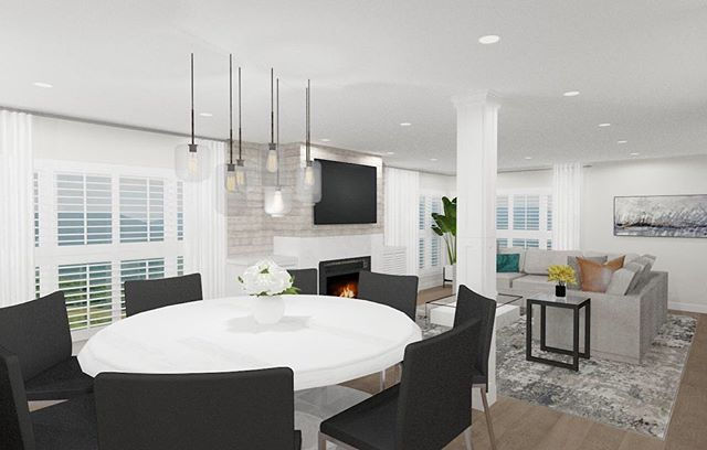 RENDER | Today I'm sharing a view from a contemporary update of this Redondo Beach, CA row home. The style of the current space is definitely beachy chic and I'm really loving the new design by Judy at Featured Design! ⠀