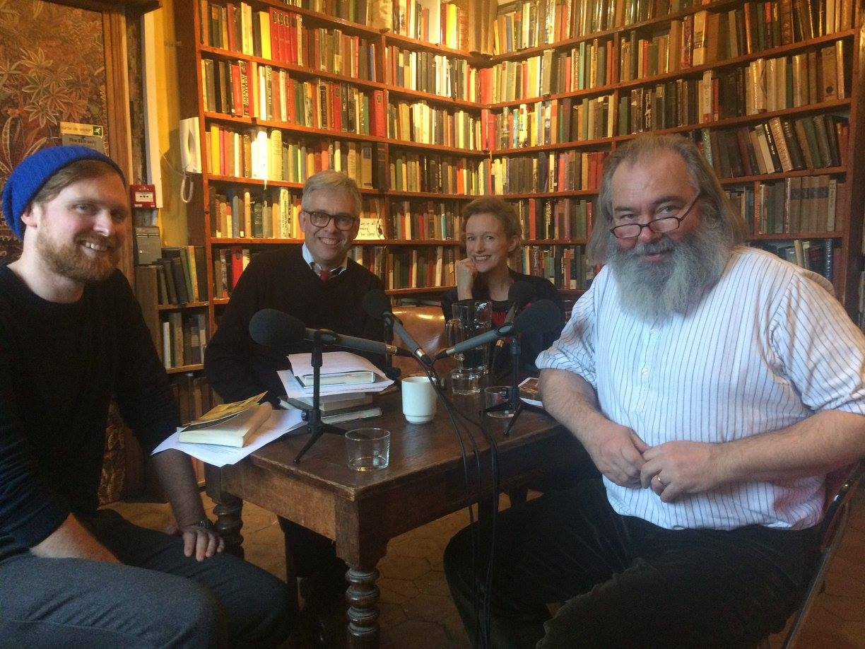Recording the Huysmans podcast in the Sylvia Beach Memorial Library in Shakespeare & Co ( L to R: Adam Biles, Andy Miller, Sylvia Beach Whitman & John Mitchinson