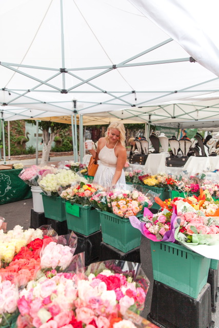 Picking fresh flowers at the Farmers Market!