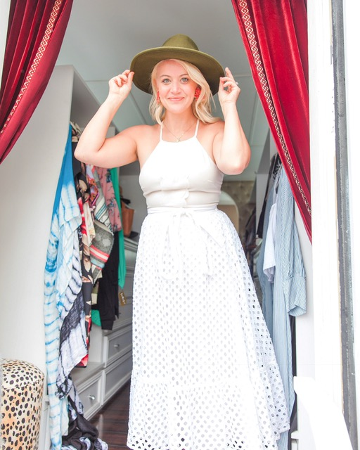 Trying on cute outfits at the pop up clothing shop inside a van!