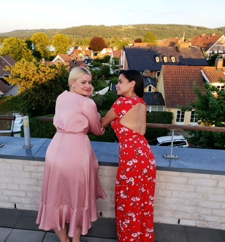 Overlooking Bastad at Sunset! Rocking my favorite   Gal Meets Glam   dress I picked up at Nordstrom!