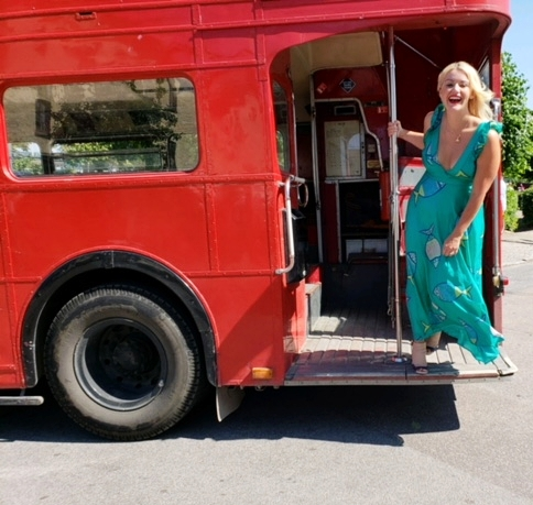 The wedding couple picked us up in an old British double decker bus! Im playing around in my favorite   Anthropologie   dress!
