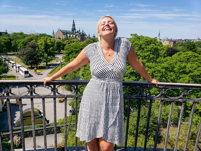 The view of the Nordic Museum from Skansen! Rocking my favorite summer dress from   Anthropologie!