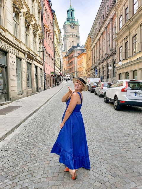 Blowing kisses in Old Town (Gamla Stan) in my favorite blue outfit from  Target!