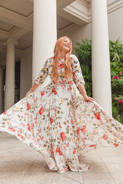 Dancing in front of The Huntington Library! This dress is from BHLDN! It's the perfect dress for any occasion!    Dress: BHLDN: Woodstock Maxi: $268