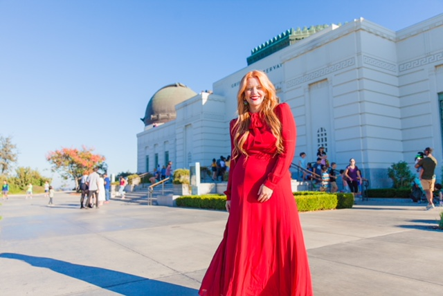 The Front of the Griffith Observatory located in Los Feliz, Los Angeles, California.    Dress: Reformation