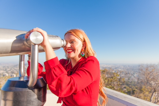 Look at that view!! You can see the entire city of Los Angeles from up here! I am clearly looking for celebrity sightings down below :)
