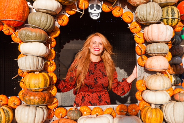How cute is this Halloween House made of pumpkins??? So colorful and fun!