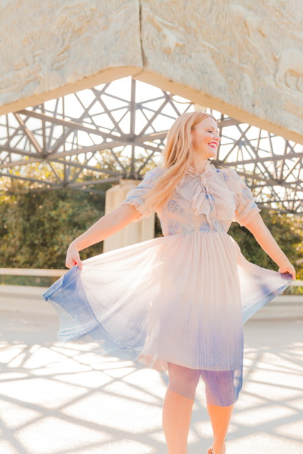 Feeling Fancy Free in my beautiful number from   Chicwish!      Dress: We Know It All Gradient Pleated Mesh Tulle Dress!    Price: $72