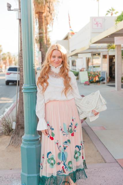 Tres Chic in Palm Springs in Anthropologie!    Skirt: Anthropologie: Fringed Tulle Skirt : $158
