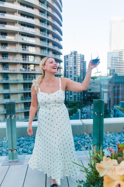 Standing on the gorgeous terrace of the new Hyatt Regency Hotel!