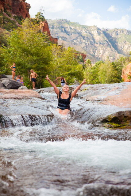 Sliding down the river is super refreshing!