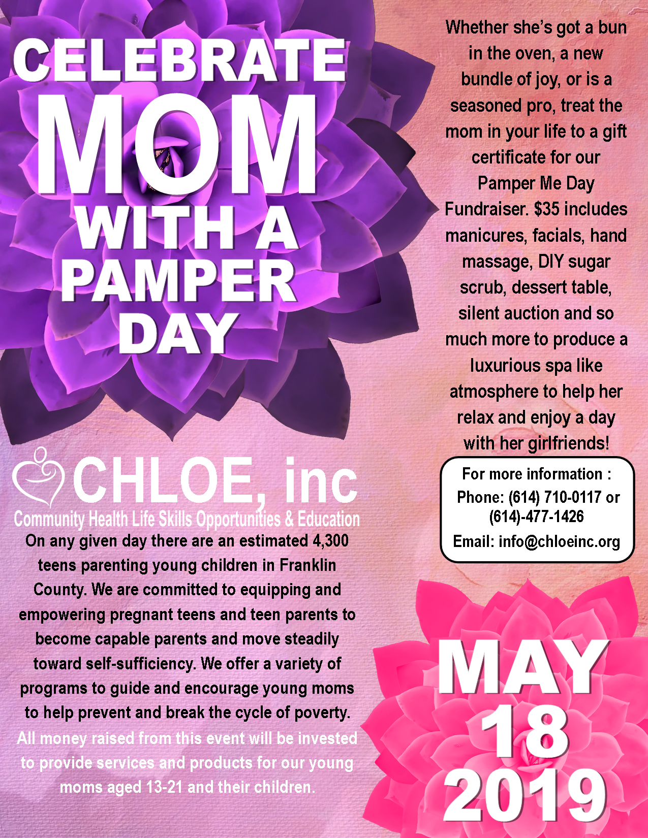 Pamper Me Day Fundraiser - May 18, 201911 AM-1:30 PMCreekside Conference & Event Center101 Mill Street #300Gahanna, OH 43230To buy tickets, visit https://www.eventbrite.com/e/pamper-me-day-fundraiser-tickets-58910748635..