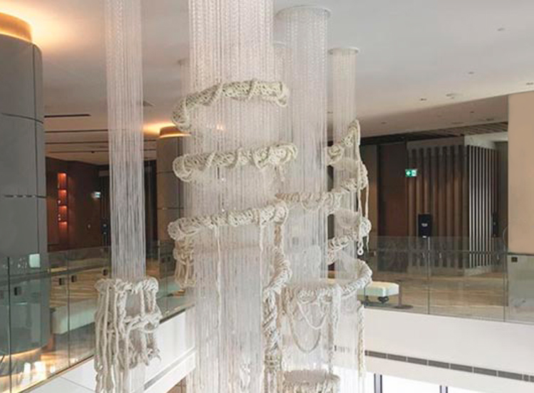 Custom lighting in sparkle fibre and wool from Di Emme and extreme knitter, Jacqui Fink. Image: Jacqui Fink.