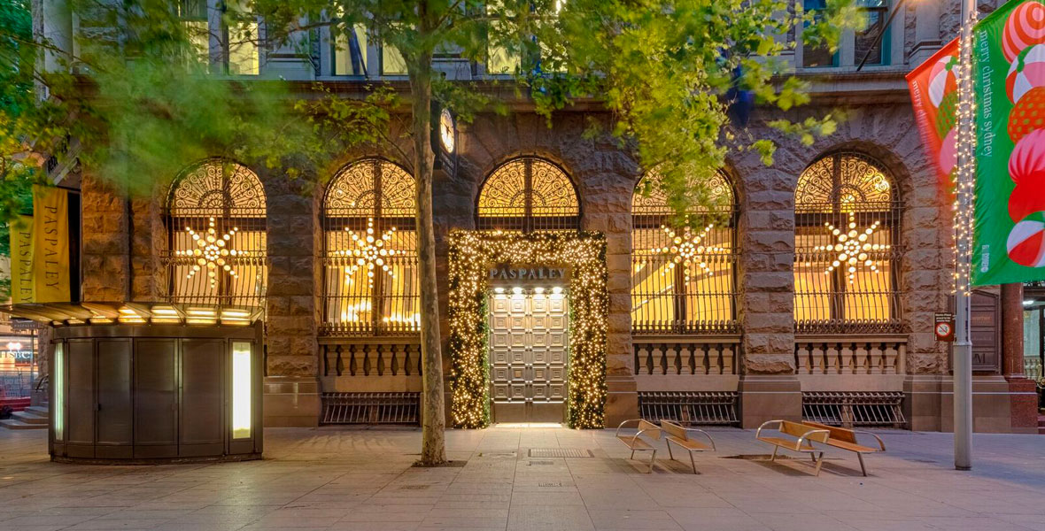 Paspaley Martin Place Sydney with festive lighting from Haron Robson and Di Emme