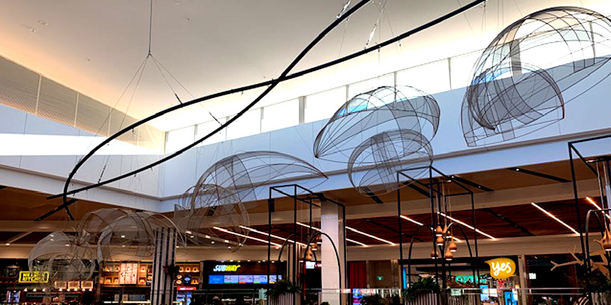Series of pods suspended above the Dapto Mall food court