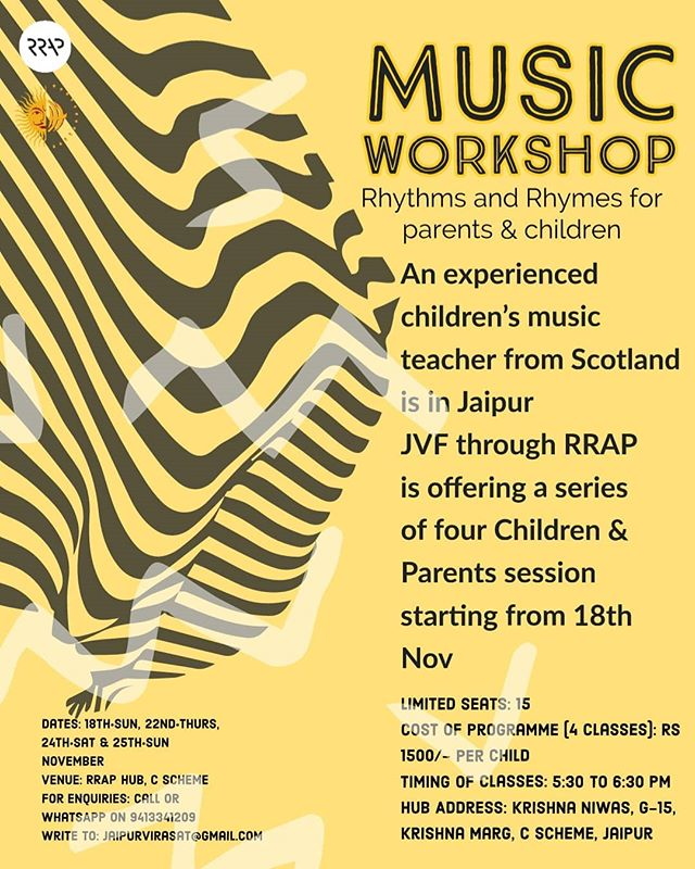 On Special Requests, Parent & Children Music Workshop for 3 to 5 year olds by @sallyjaquet Starting from 18th Nov  DM us to enroll  #jaipur #pinkcity #musicworkshop #musicclassroom #parentchildren #rhythem #rhymes #thingstodoinjaipur #childrensmusic #folkfromaroundtheworld