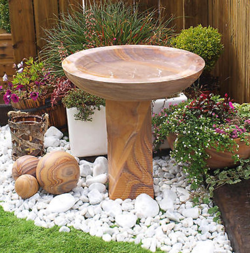 Rainbow Indian Sandstone Bird Bath -   Click for more information and pricing.