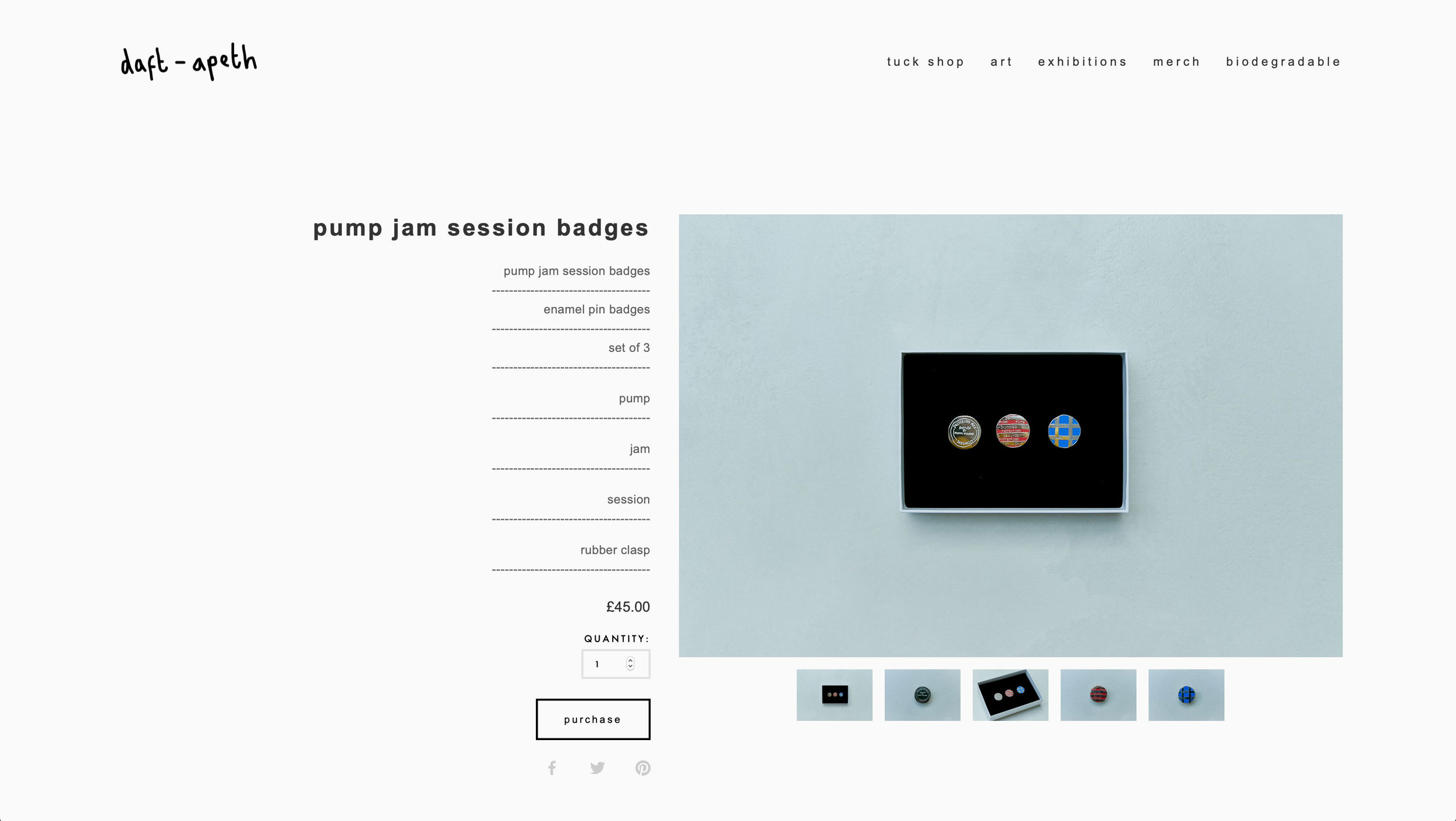 Product Page in the 'tuck shop'