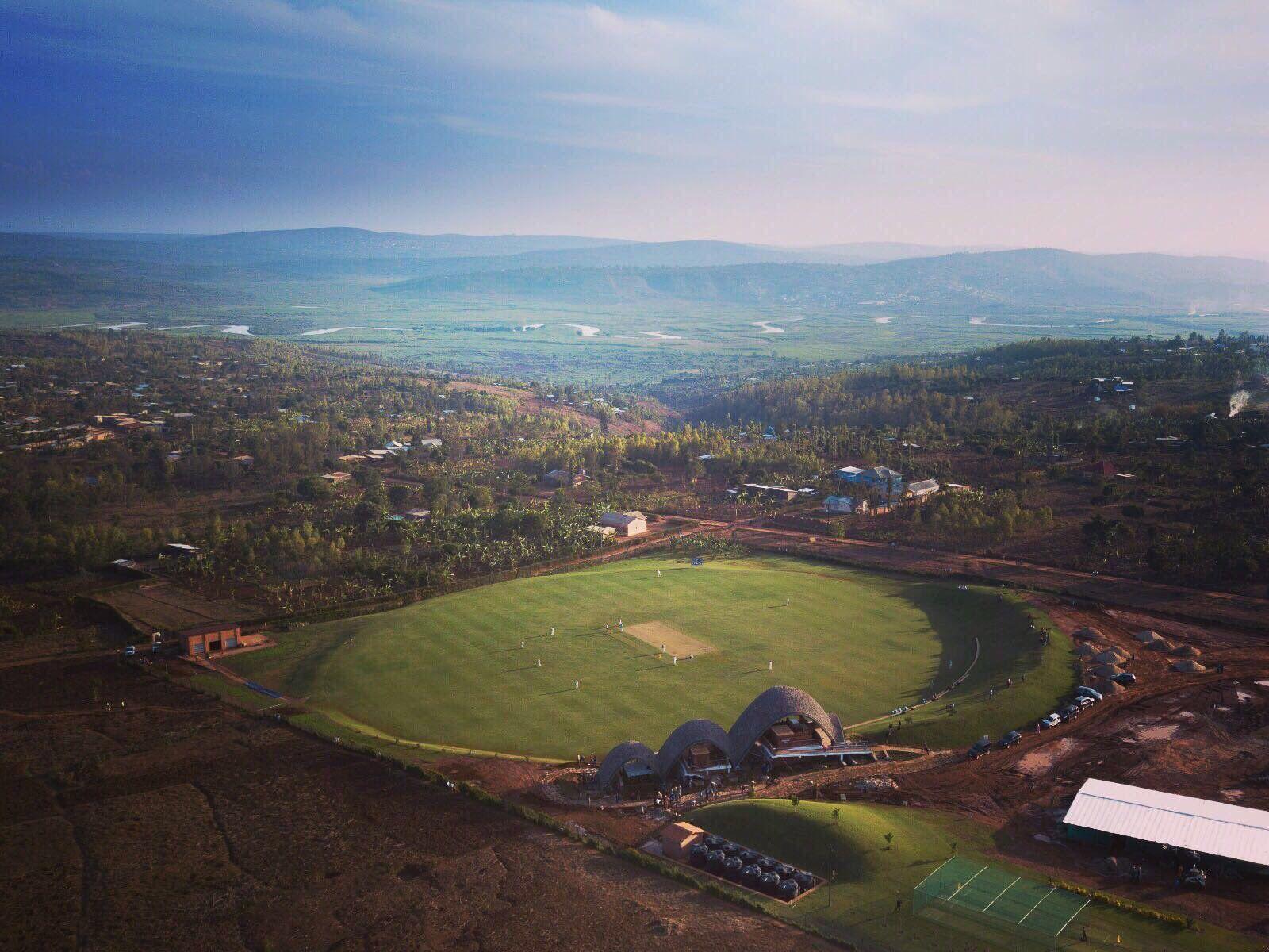 The Gahanga Cricket Stadium in Rwanda enjoys views across Kigali's rolling landscape