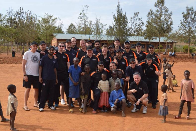 Coutts CC players found time in between matches to coach at a local school near Gahanga