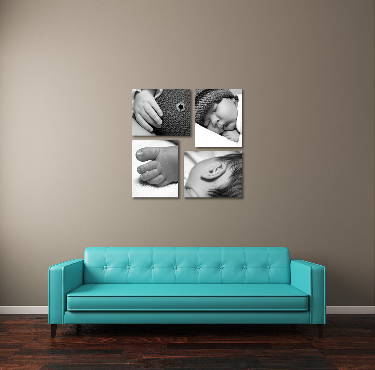 photographs displayed above sofa