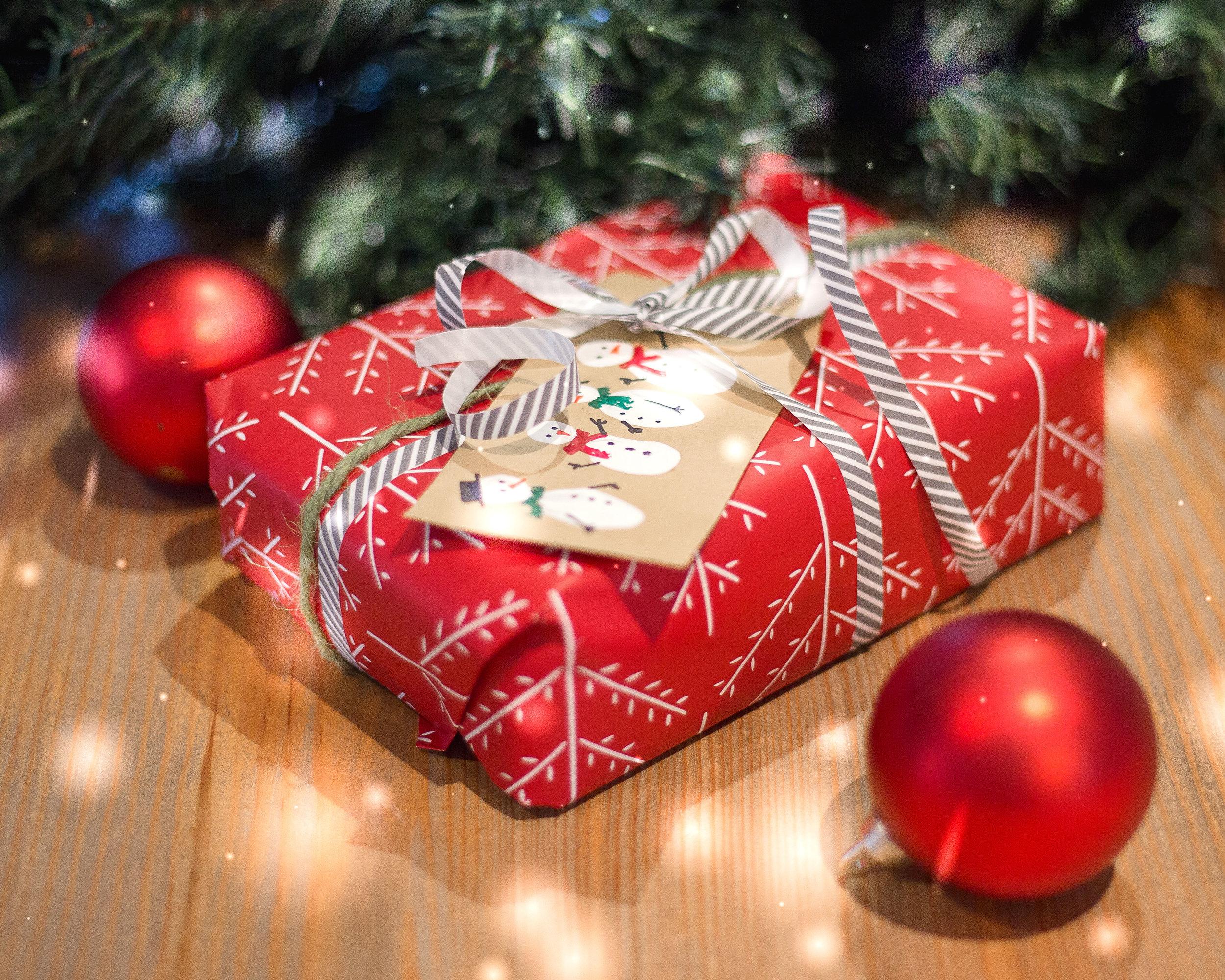 Christmas gift with handmade tag