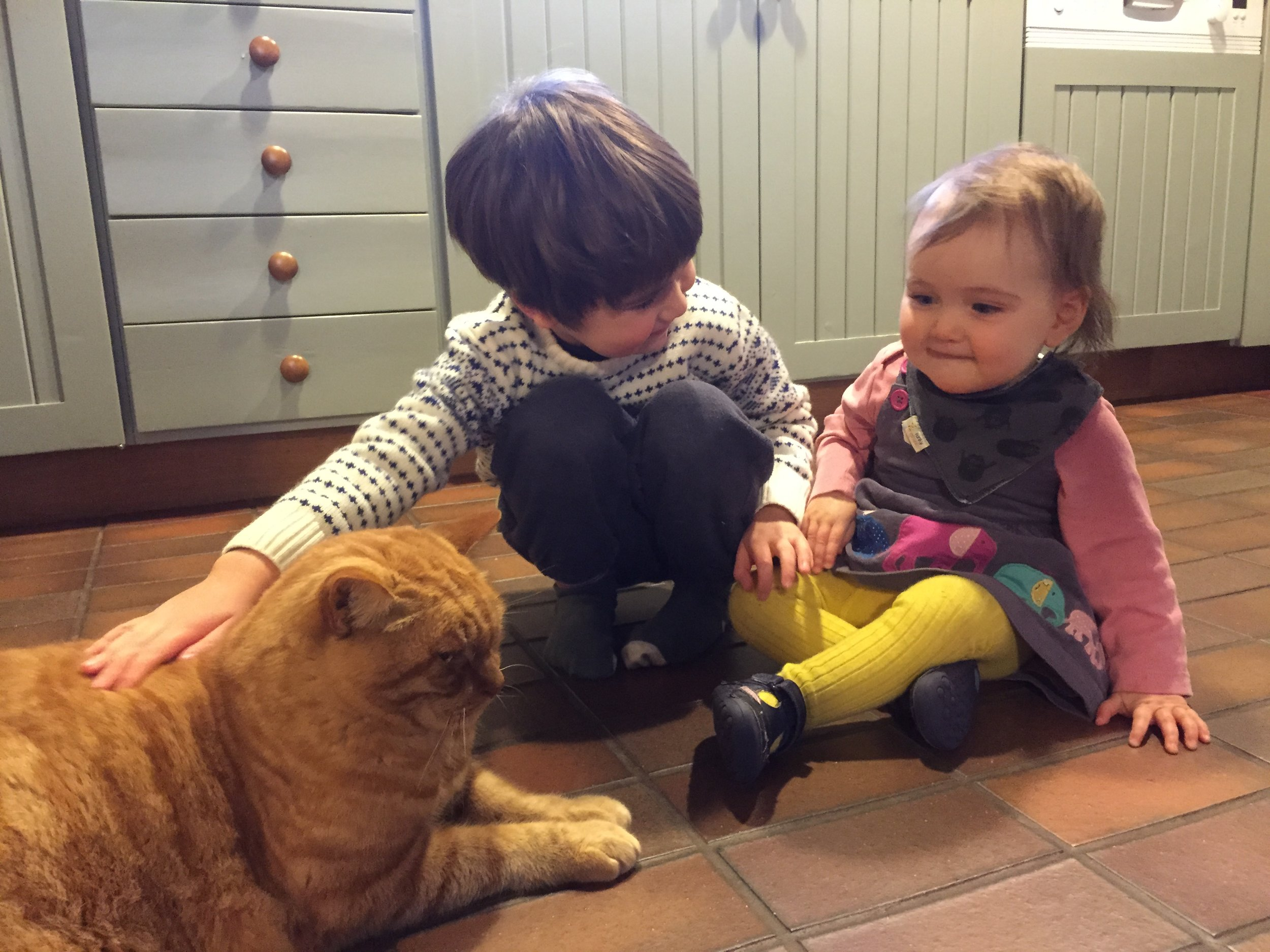 brother and sister with cat