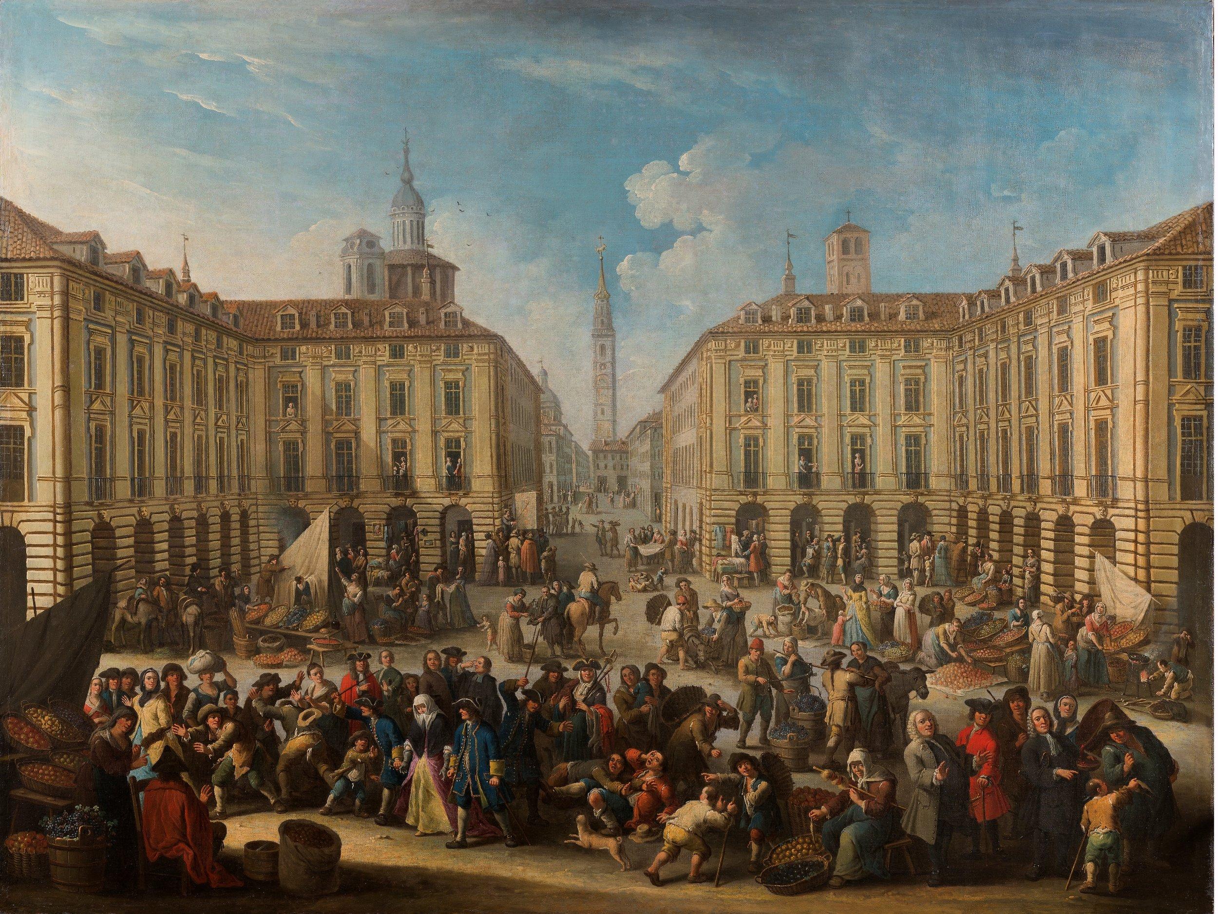 Giovanni Michele Graneri,  Piazza del mercato di Porta Palazzo a Torino,  1749-1756 circa, olio su tela, 159,5 x 212,5 cm, courtesy: Museo Accorsi-Ometto, Torino