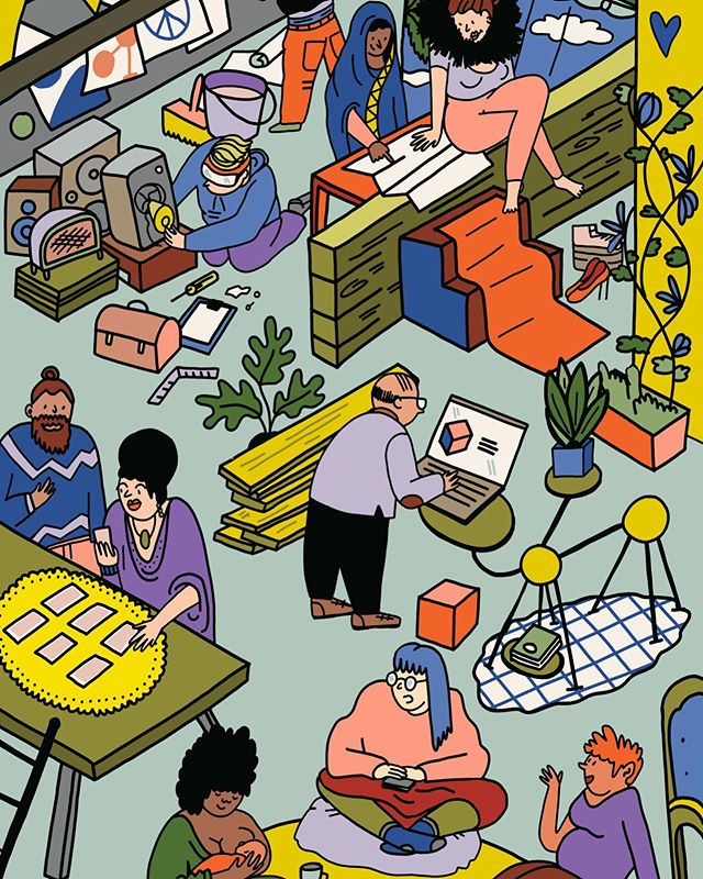 What if unused urban spaces were always repurposed to become non-commercial, self-organized, experimental playgrounds? I would definitely hope to see in there Moira Orfei sosia reading tarot to a man-bunned hipster! 🔮 . Illustration made for the latest report of @actorsofurbanchange. Art direction 💚by @jakobkornelli @any.studio . . #illustration #normanardi #womenwhodraw #urbanchange #consciouscommunity #resilience #communitywork #drawing #actorsofurbanchange #temporaryoccupation #occupationtemporaire #socialactivism #artactivism #illustrazione #instaart #communityspace #inclusion #publication #report #changemakers #editorialillustration #illo #queerillustration #whereiswally