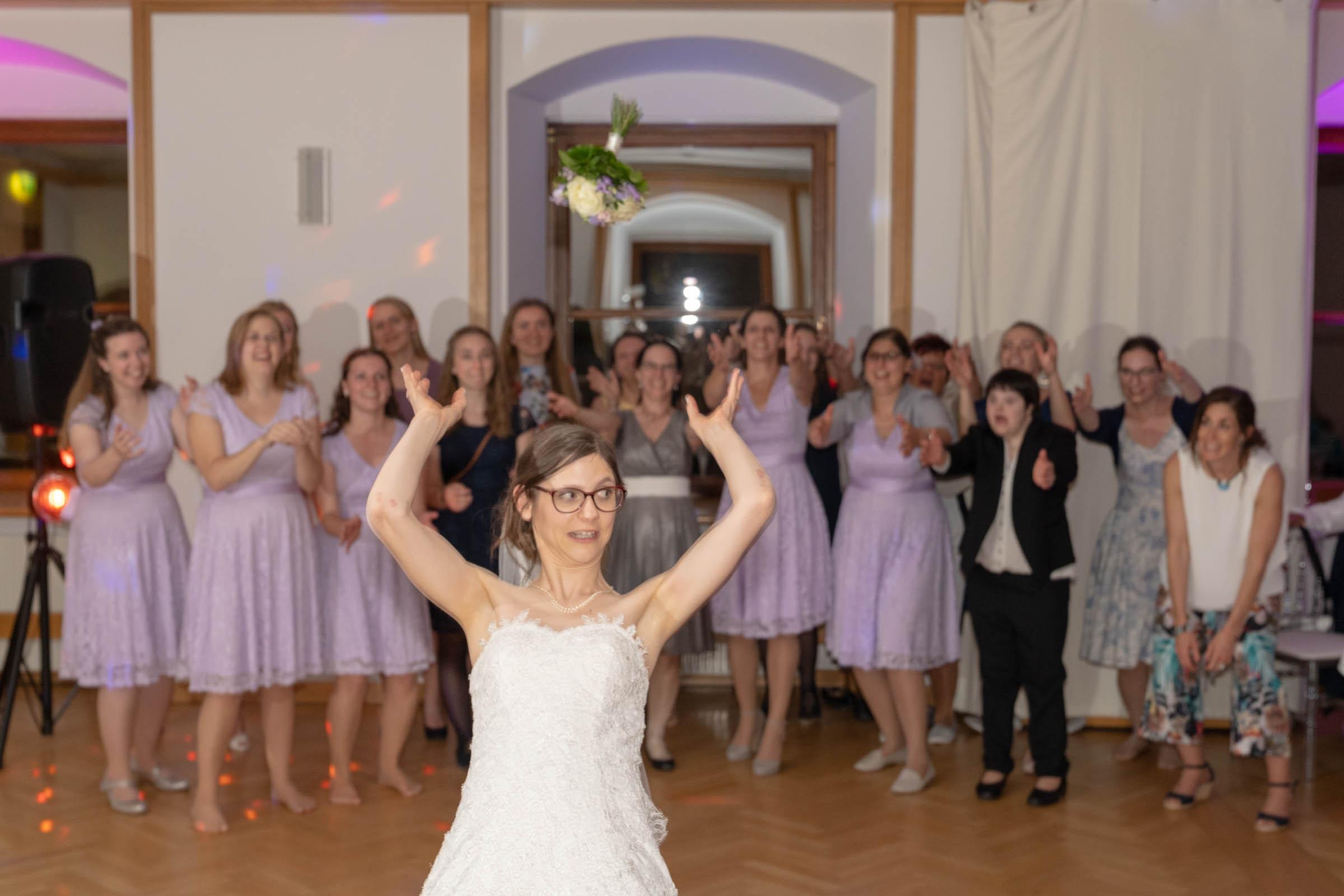Schloss Hernstein Wedding reception bouquet toss