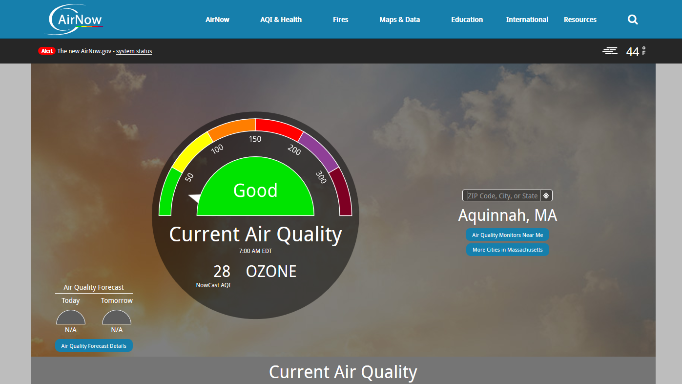 AirNow: Current and forecast air quality for anywhere in the country from the Environmental Protection Agency.