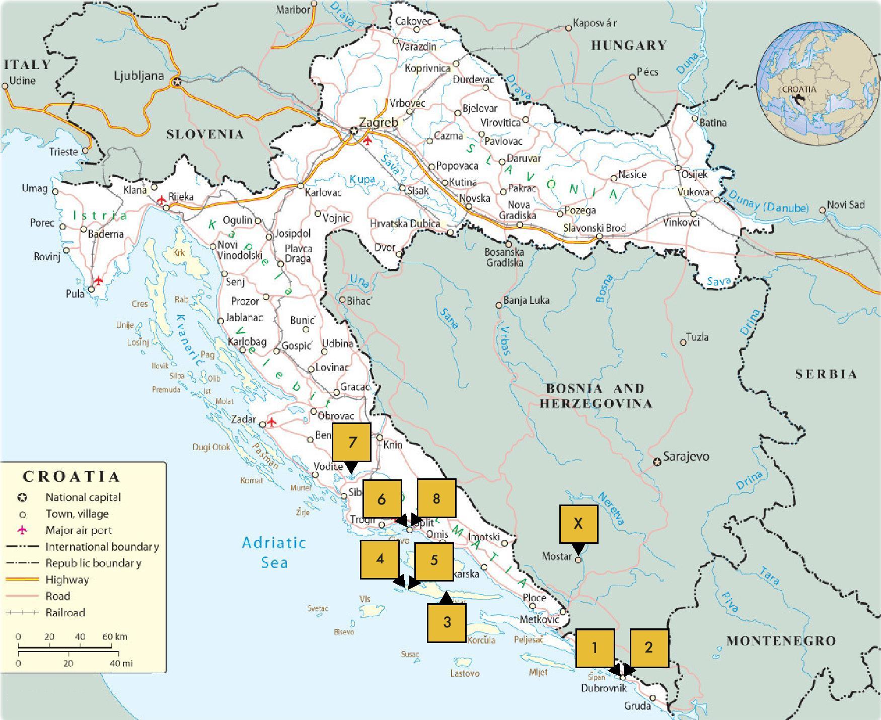 THE BIG TRIP: CROATIA MAP