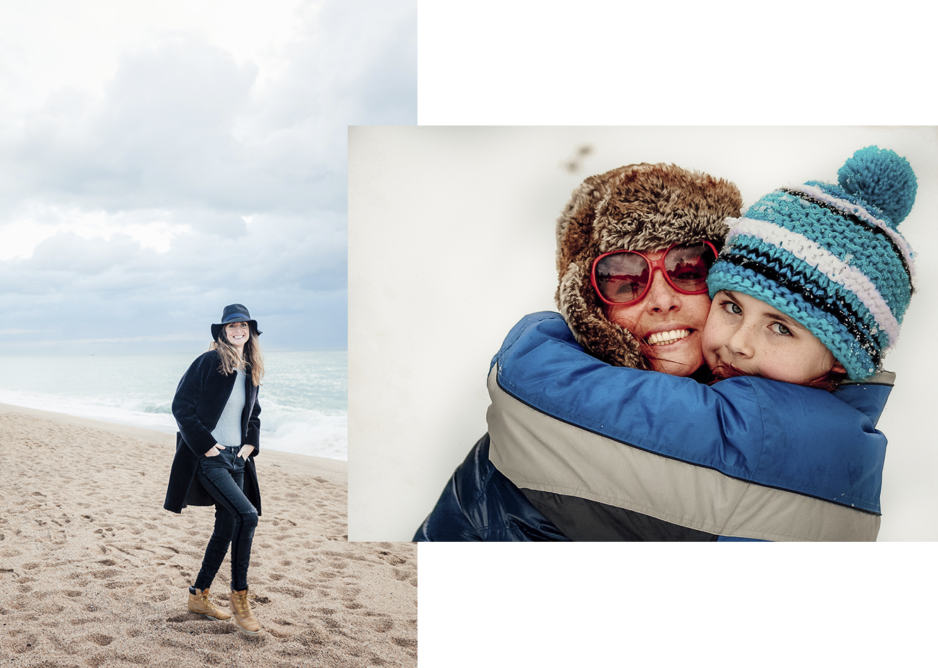 Jo Kemp photographer on the beach (left) Jo Kemp photographer and daughter wearing hats in the snow (right)
