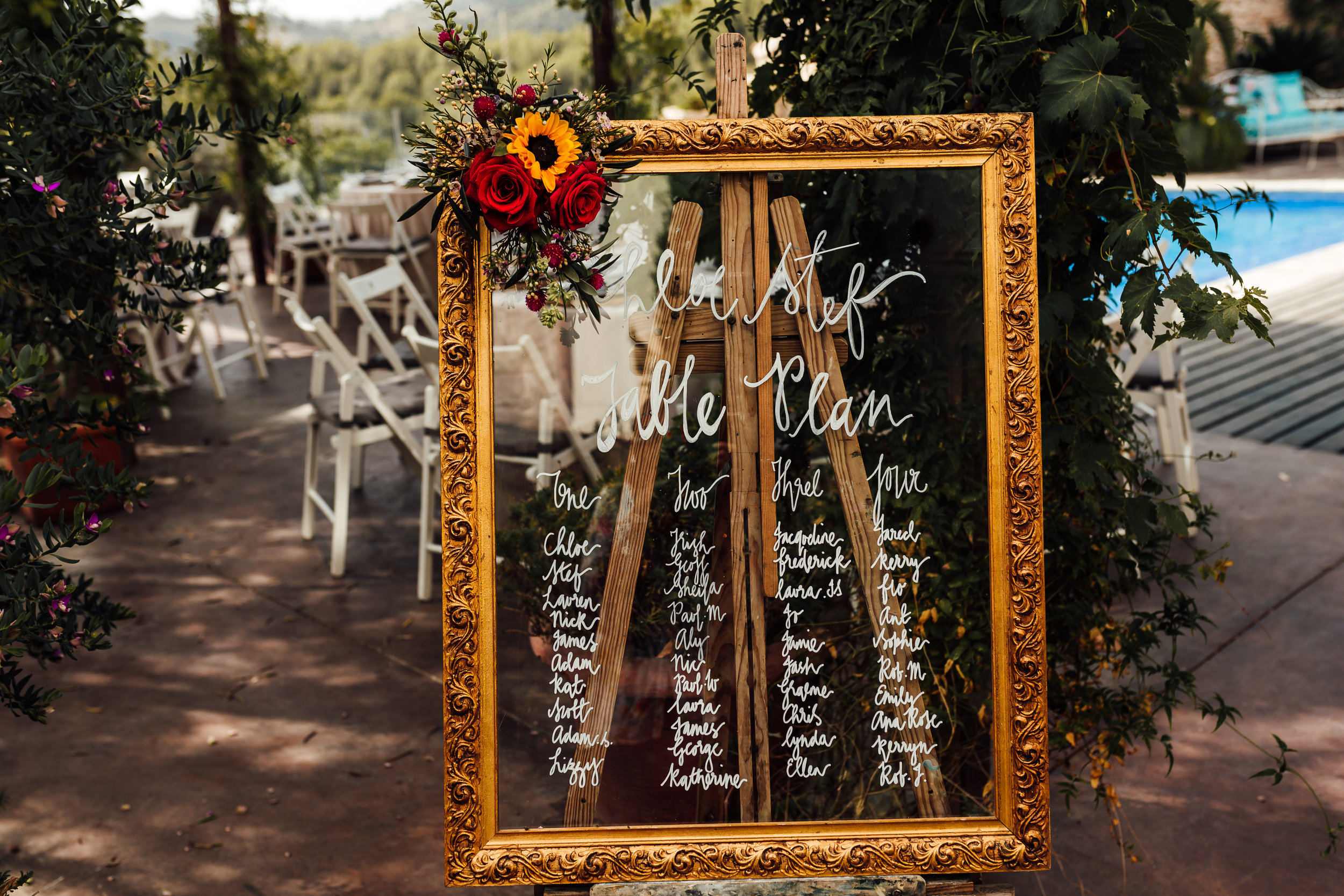 Gorgeous hand written table plan on a recycled frame at a Casa Felix wedding in Olivella - By pip from Philippa Events