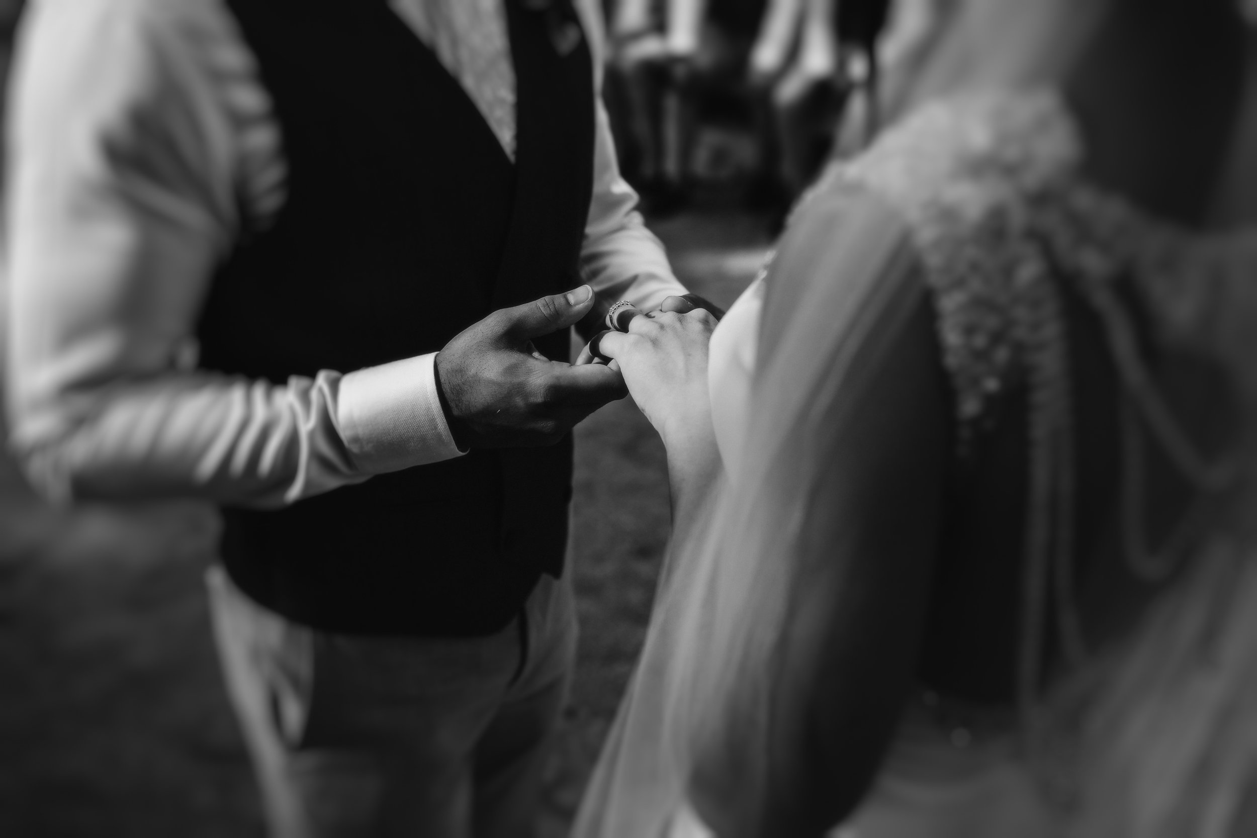 A bride and groom holding hands on their wedding day at Joansaidi by Calblay in SItges Barcelona by Jo Kemp Photography