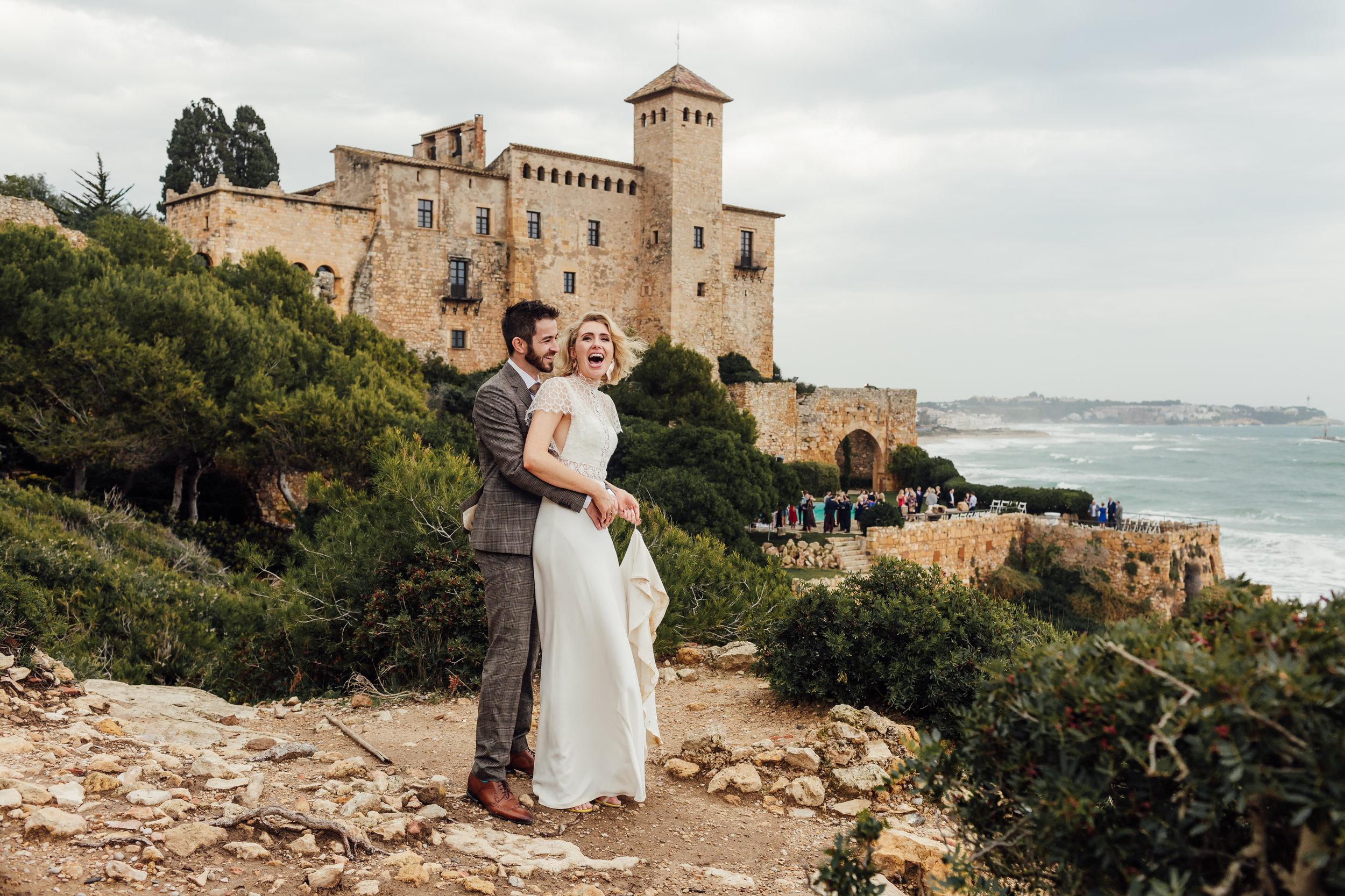 A bride and groom on their wedding day at Castille de Tamarit, Tarragona, Barcelona by Jo Kemp Photography