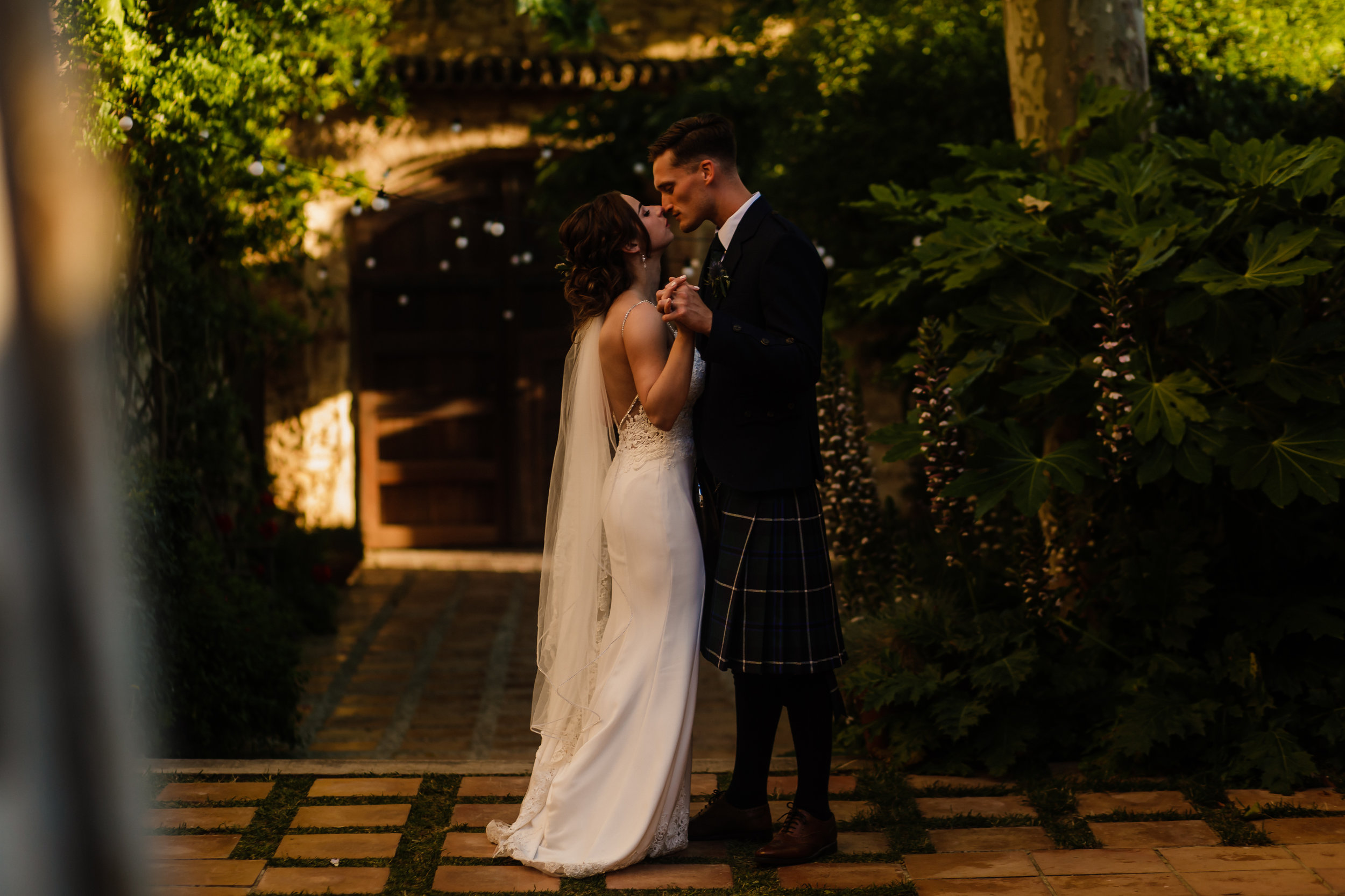 Bride and groom on their Wedding Day at Casa Felix Sitges Barcelona by Jo Kemp Photography