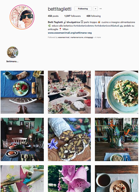 - BETTI TAGLIETTI is the account of Betti: she teaches kids about foraging, she cooks with natural ingredients and loves to decorate and prepare beautifully set tables. look her up!