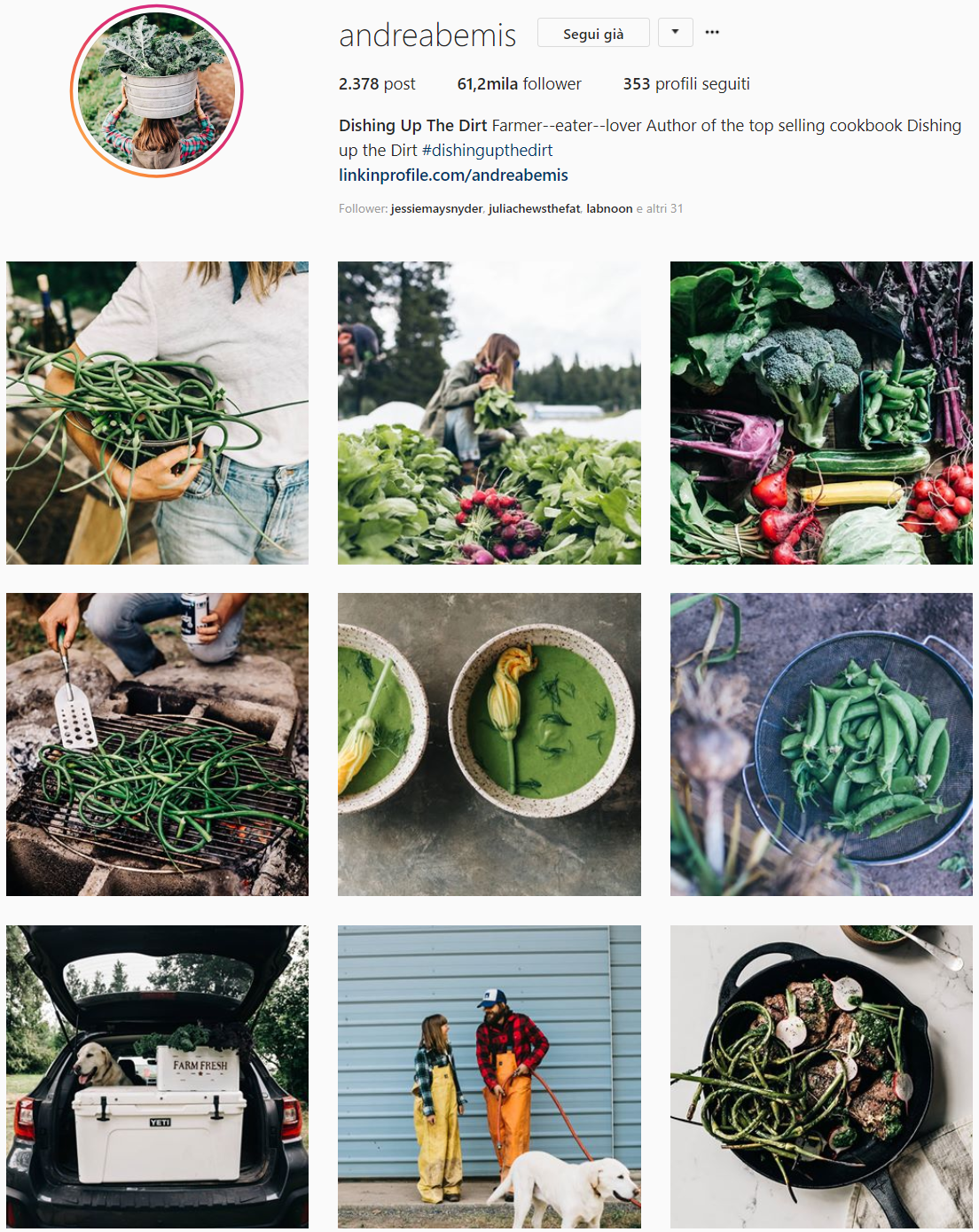 - Dishing Up the dirt - Andrea BemisBetween the endless hours of working the land, producing food, and cultivating a community of customers, Andrea and her husband Taylor somehow found a rhythm and good routine in their 6 acres farm in Oregon. Follow them!