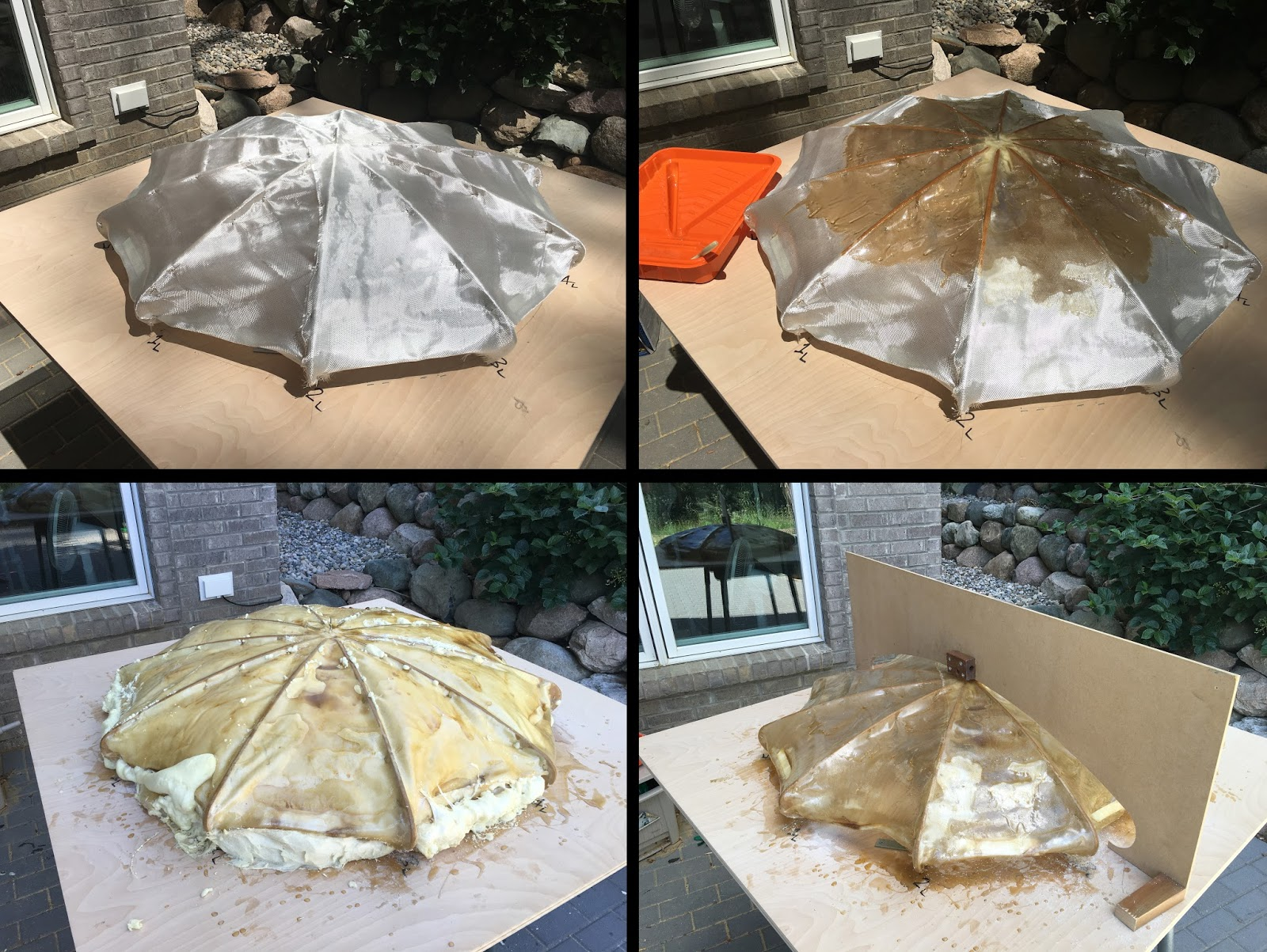 Clockwise from top left: (1) Laying fiberglass over wood cross-sections;  (2) Wetting out the glass with resin;  (3) Checking glass profile versus target profile;  (4) Filling out the volume with polyurethane.