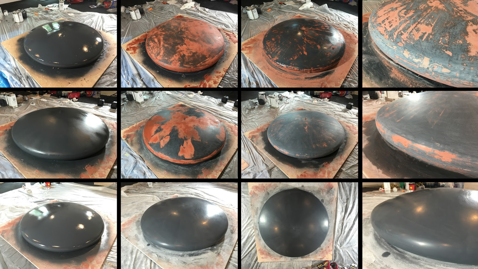 From the top, each row shows successive layers of gel coat with filler (reddish color) and the result after sanding to a fine finish.