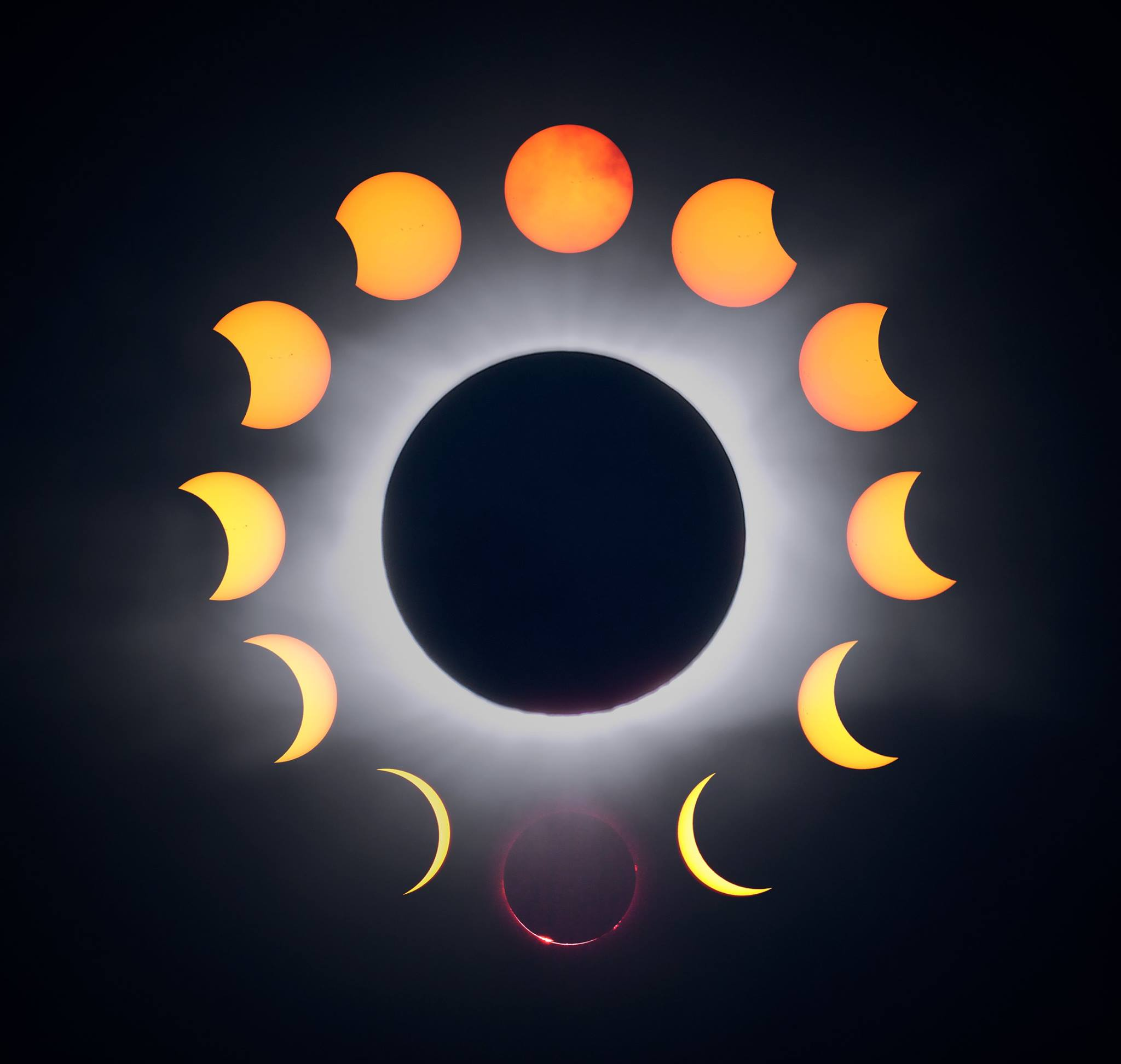 Collage showing phases of the eclipse, clockwise from the top. Moment of totality and coronal highlights shown in the center. © 2017 Christopher Couch