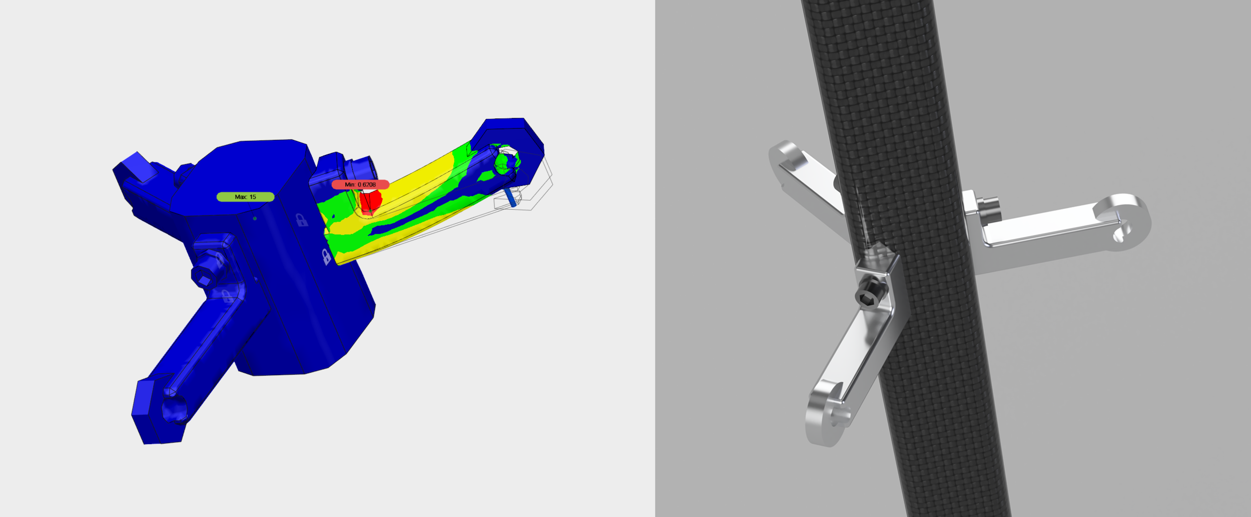 Parachute tether assembly. FEA analysis of chute opening shock (left), assembly installed in the main strut (right).