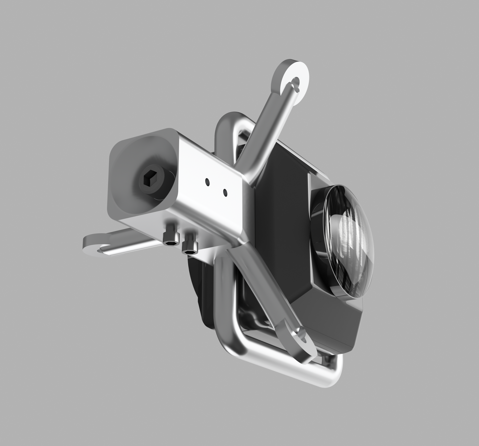 """Bottom view of tether / camera assembly showing blind insertion cone for 1/4""""-20 bolt."""